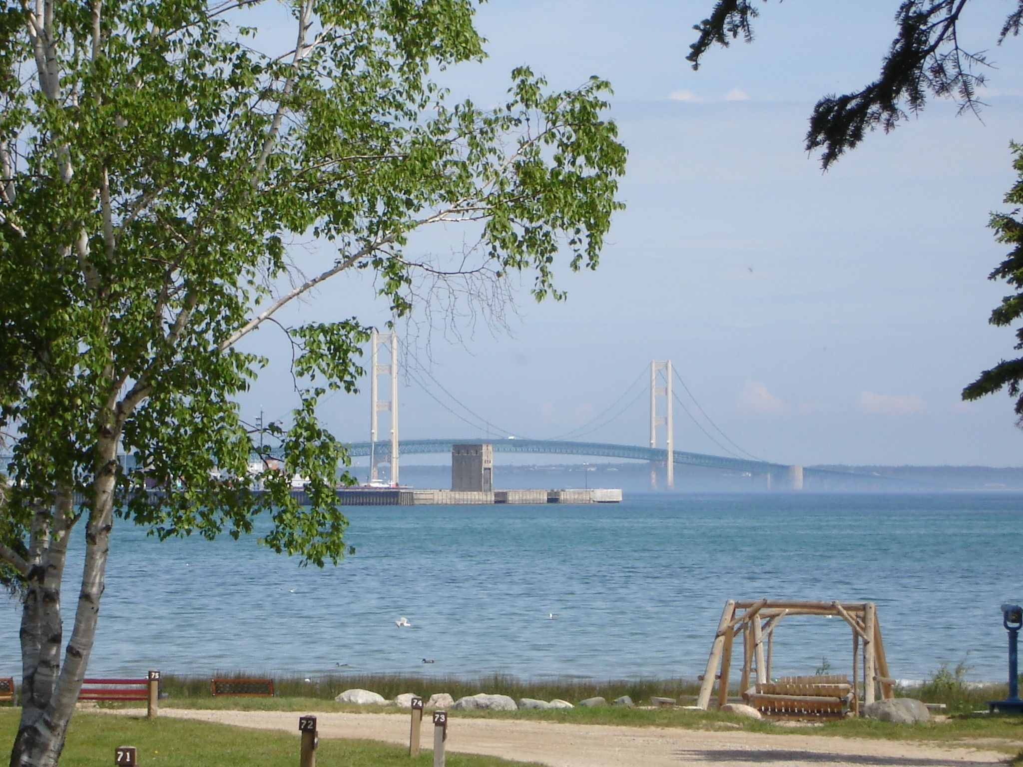 Tee Pee Campground Mackinaw City Michigan View From Our Camper Michigan Road Trip Michigan Camping Summer Travel