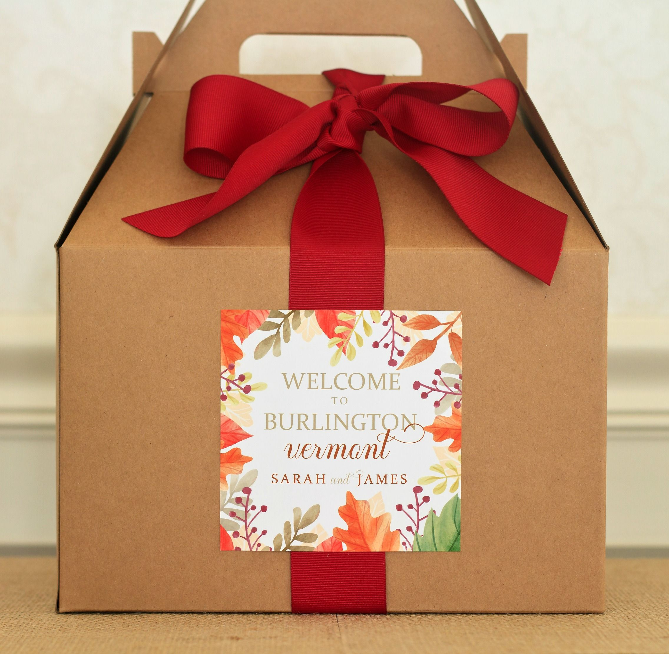 Fall Wedding Welcome Box Labels Autumn Gift Bag Stickers Greenery And Leaves Favors Cranberry Orange
