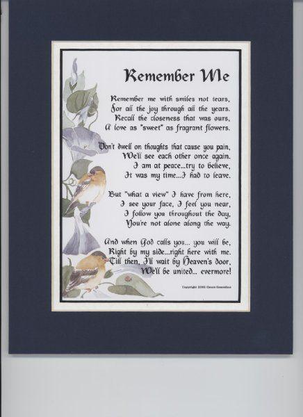 Quot Remember Me Quot Touching 8x10 Bereavement Poem Double
