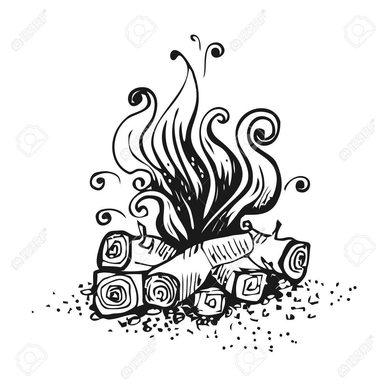 Campfire Fire Over Wood Logs Black And White Graphic Vector Black And White Drawing Campfire Drawing Fire Drawing