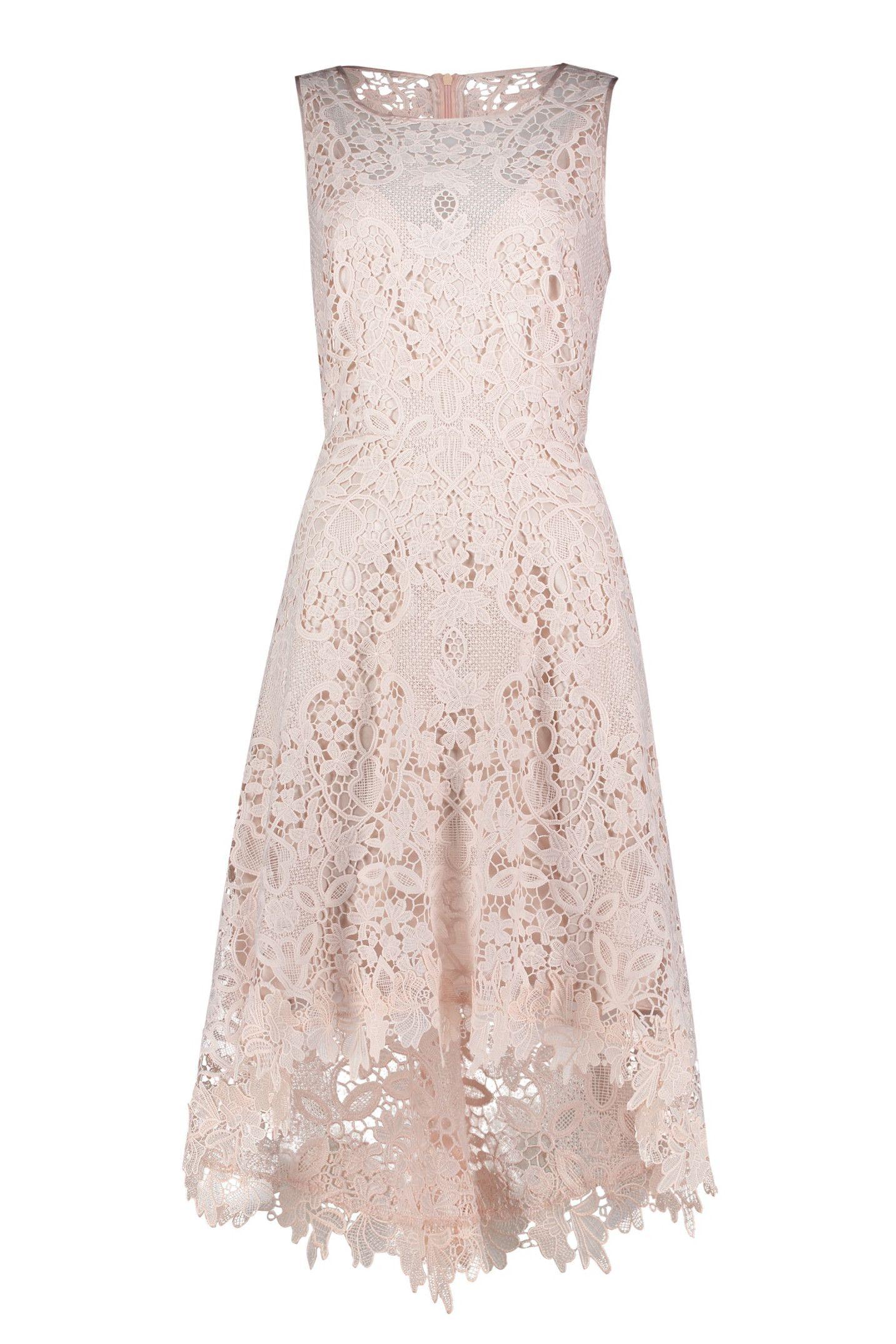 Vokuhila Kleid Aus Pragnanter Relief Spitze Kleid Altrosa Kleid Spitze Abendkleid