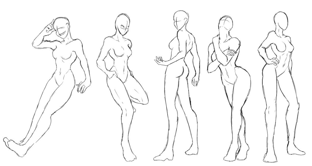6 Female Standing Poses Pack Free To Use By Shadowinkwarrior