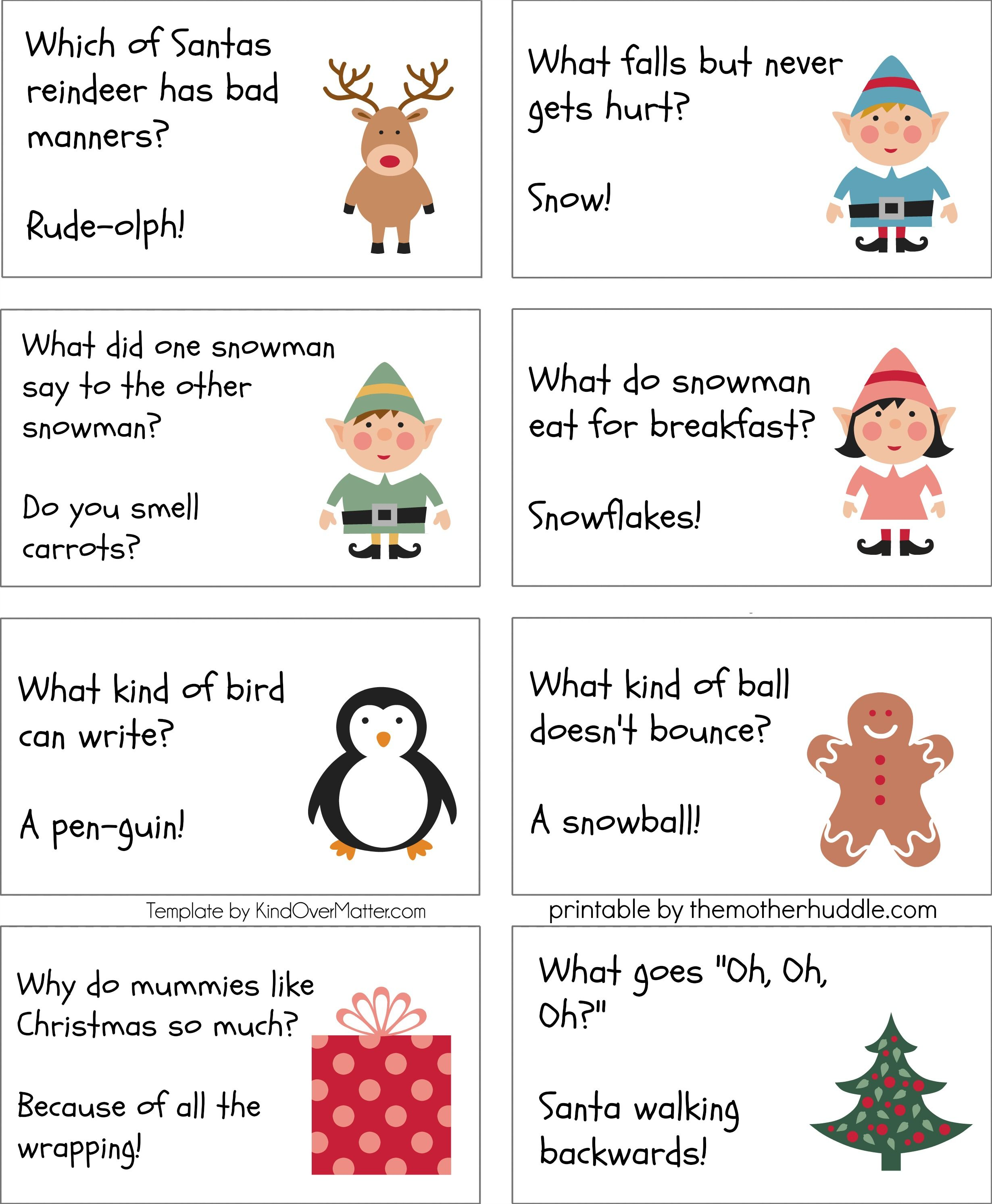 Free Printable Lunchbox Jokes The Mother Huddle Christmas Riddles Christmas Jokes For Kids Christmas Riddles For Kids