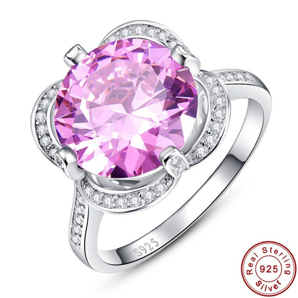 Pink Topaz Pure Solid 925 Sterling Silver Wedding Ring