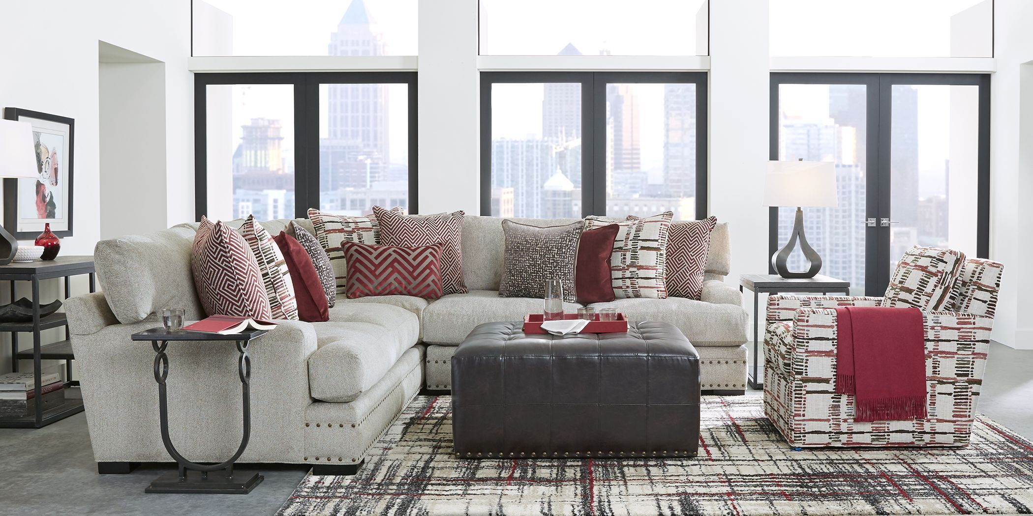 Cindy Crawford Home Tribeca Loft Beige 3 Pc Sectional Living Room Sets Furniture Sectional Living Room Sets Living Room Sets