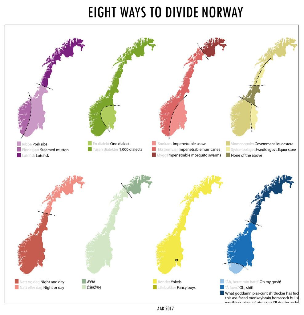 Eight Ways To Divide Norway Mapmania Map Norway World Geography