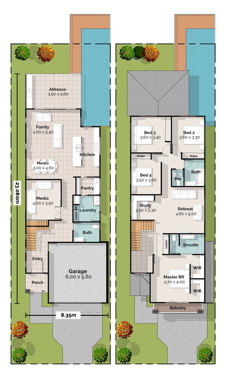 Enoggerra Two Storey House Plan Two Storey House Plans Narrow House Plans Narrow House Designs