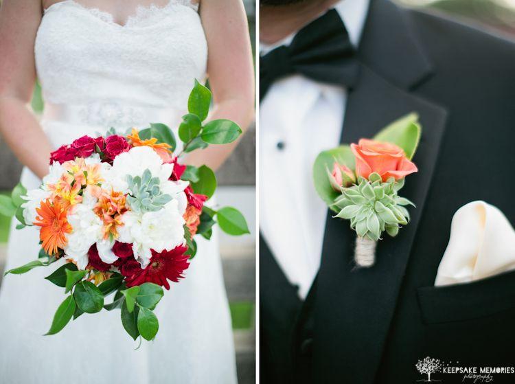 Red, Orange And White Bouquet, Succulent Bouquet