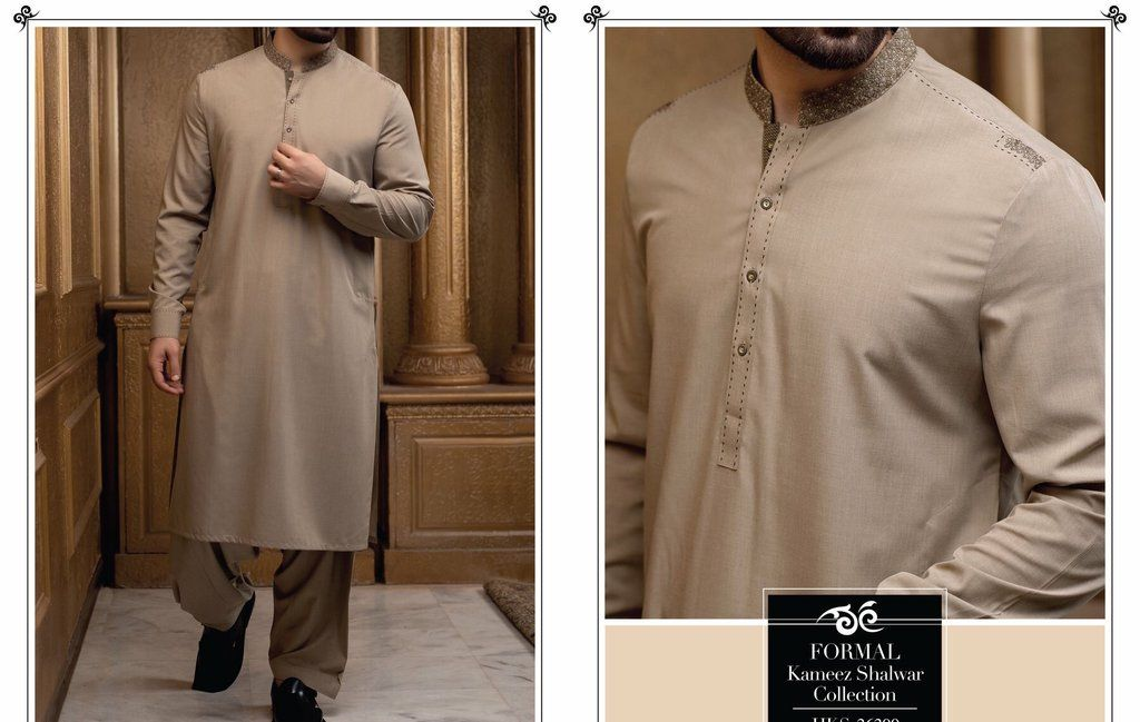 2664446d55 Pakistani Men Shalwar Kameez in Light Color Work Embellished with Gala  Threads Embroidery and Handwork Online at Nameera by Farooq, Visit Now :  www.