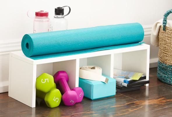 Organize your home gym: 1.Use Labelled Bins for sm. equip. Note: transprnt bins may look messy. 2.Stand up yoga mats & lrger items inside fabric lined basket. 3.Use Cabinets & Shelving that match decor to store equip, bins, twls etc. 4.Buy binders for fitnss notes & store in cabinet or shelves. Kp a clndr in gym to org workouts. 5.Use hooks for jump ropes, resistance bands etc 6.Use a Storage Bench for bins etc -also gd for resting during workouts! 7.Add decrtve touches like plants or art.