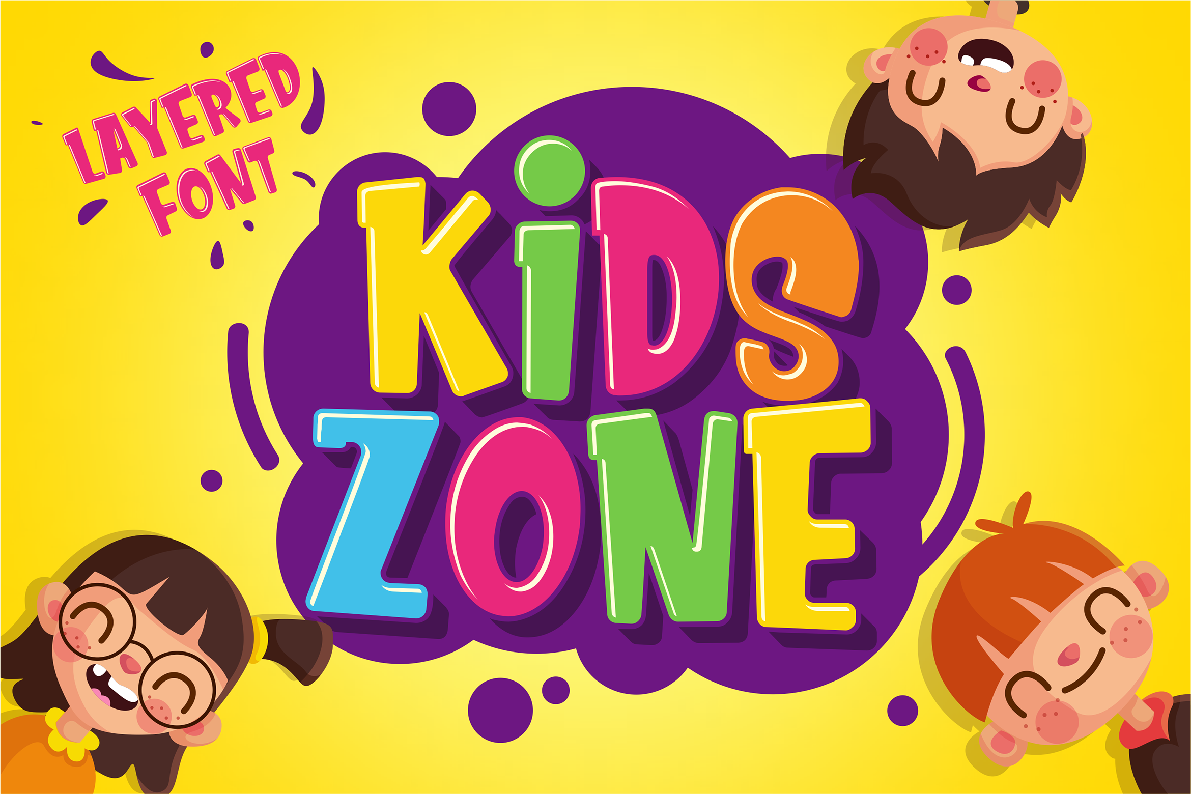 Kids Zone Layered Font by deemakdaksinas on Kid fonts