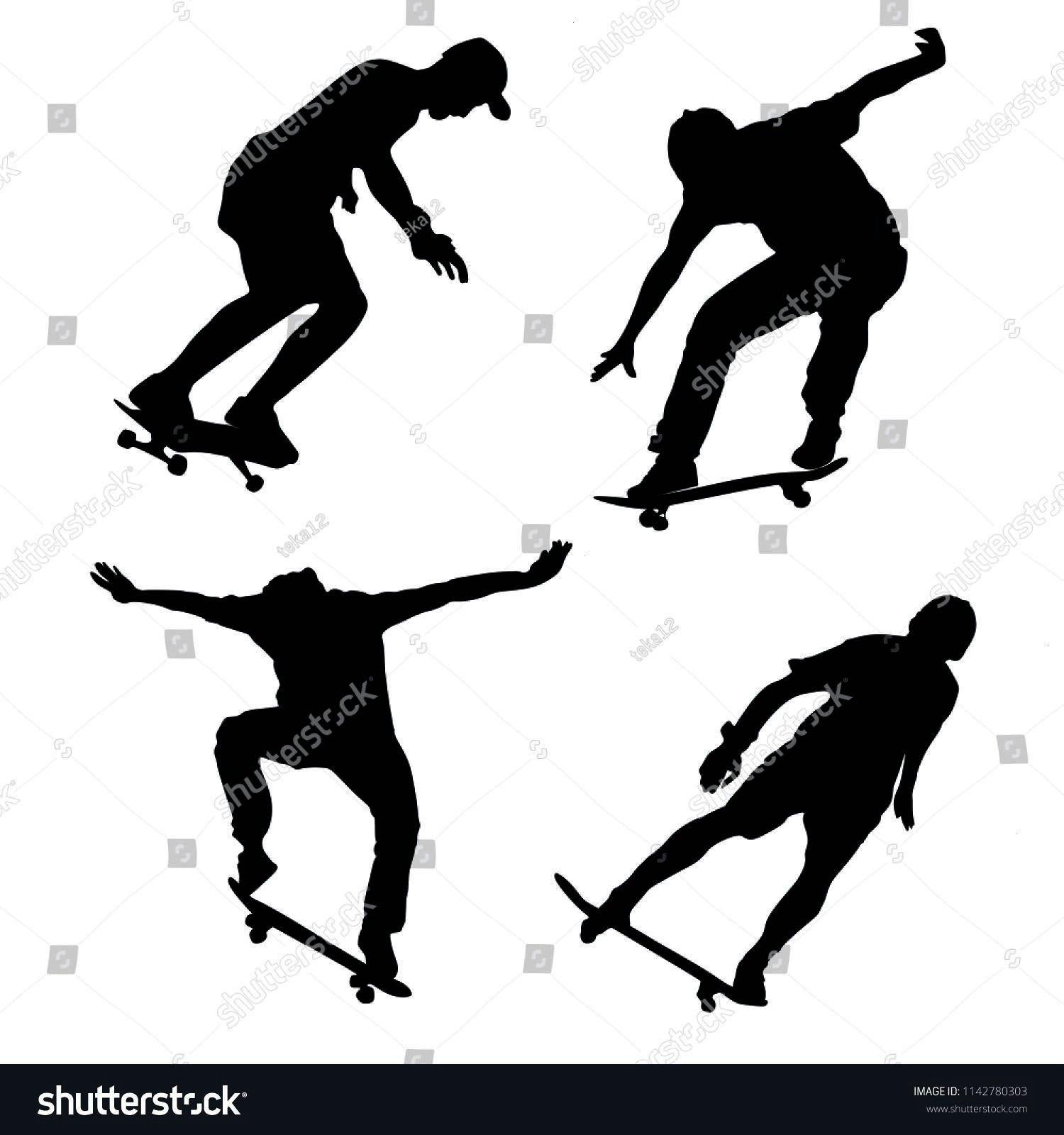 game, skateboarder in skate park, air jump trick. Skateboard vecto...,  Extreme sport game, skatebo