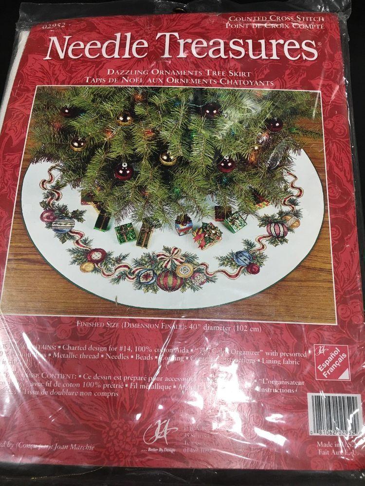Needle Treasures Christmas Counted Tree Skirt Kit 02952 Dazzling Ornaments New 81062029529 Ebay Cross Stitch Kit Tree Ornaments Counted Cross Stitch