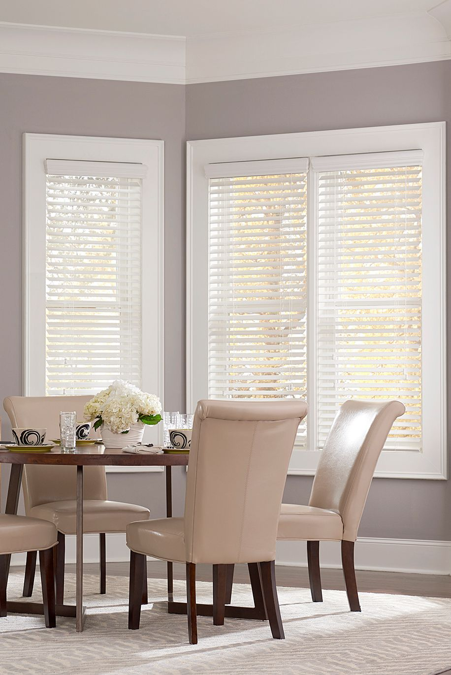 Our 2in Faux Wood Blinds Shown In The Color Snow White Embossed