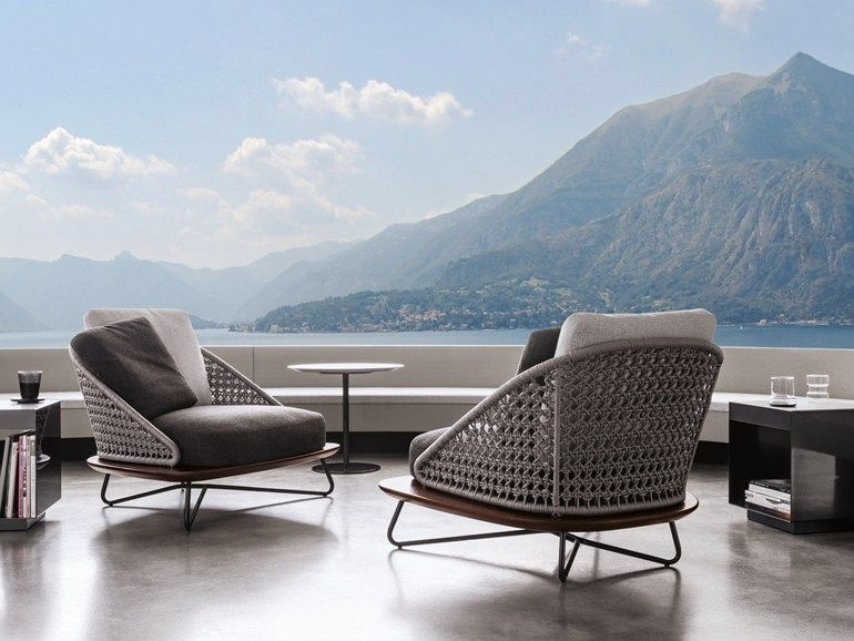 upholstered garden armchair rivera collection by minotti. Black Bedroom Furniture Sets. Home Design Ideas