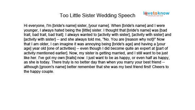 Image Too Little Sister Speech Thumb Jpg Matron Of Honor Speech Wedding Speech Sister Wedding Speeches