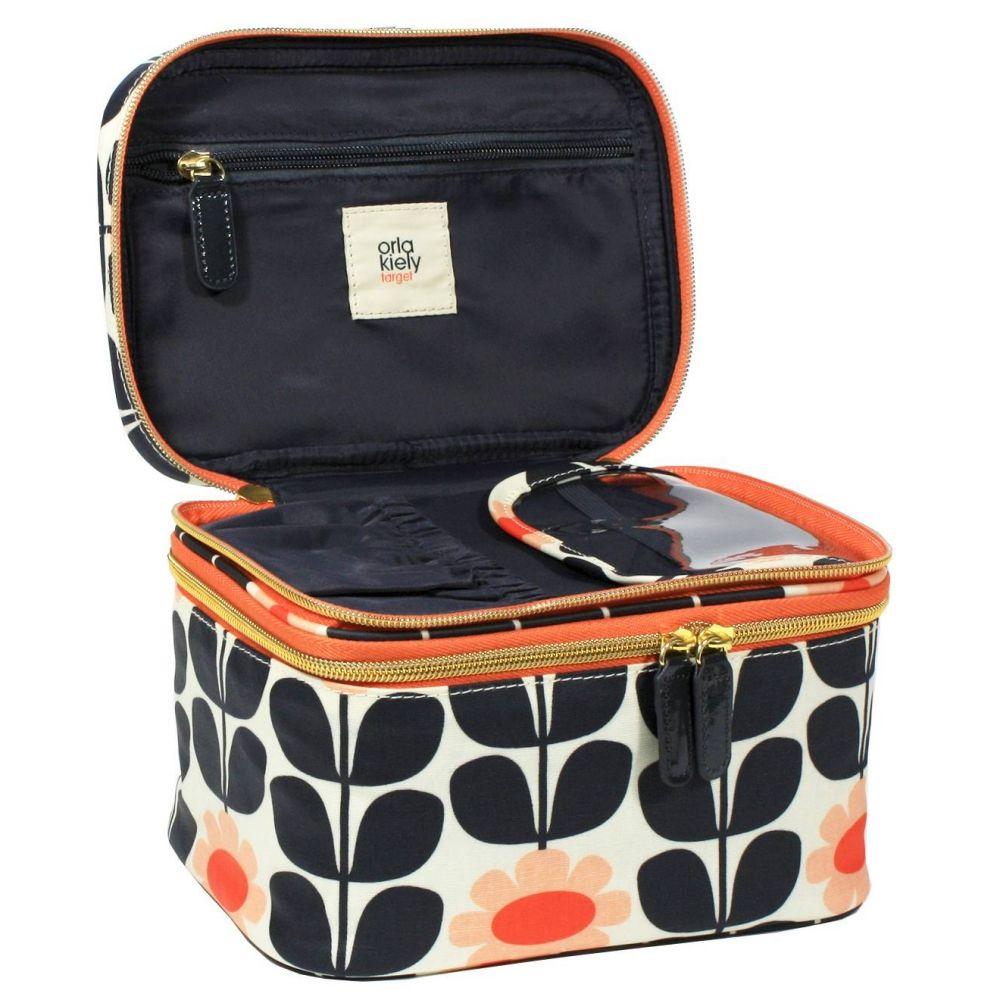 Orla Kiely Tall Flower Double Zip Train Case Cosmetic Bag