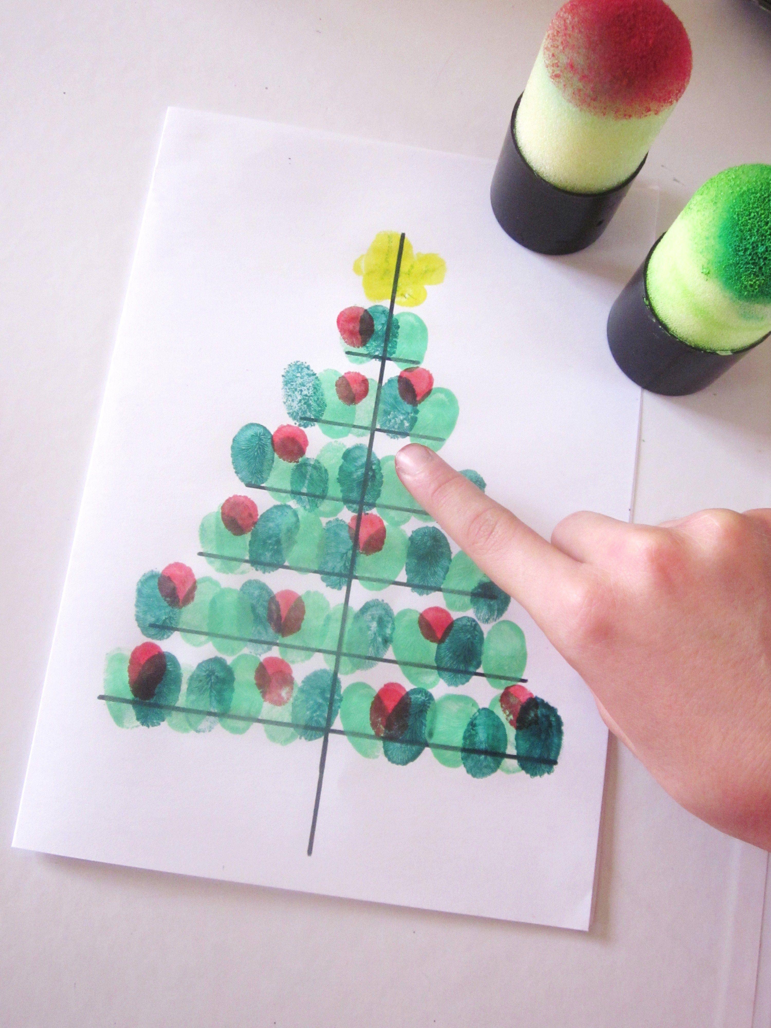 DiY} Carte Sapin de Noël avec des empreintes de doigts !! | Cartes