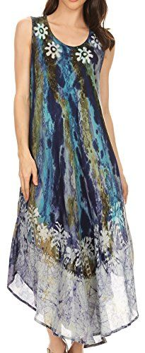 Sakkas 17806  Julia Boho Flared Multicolor Marble Batik Cotton Long Dress  Cover Up  Turq  OS *** You can get additional details at the image link.