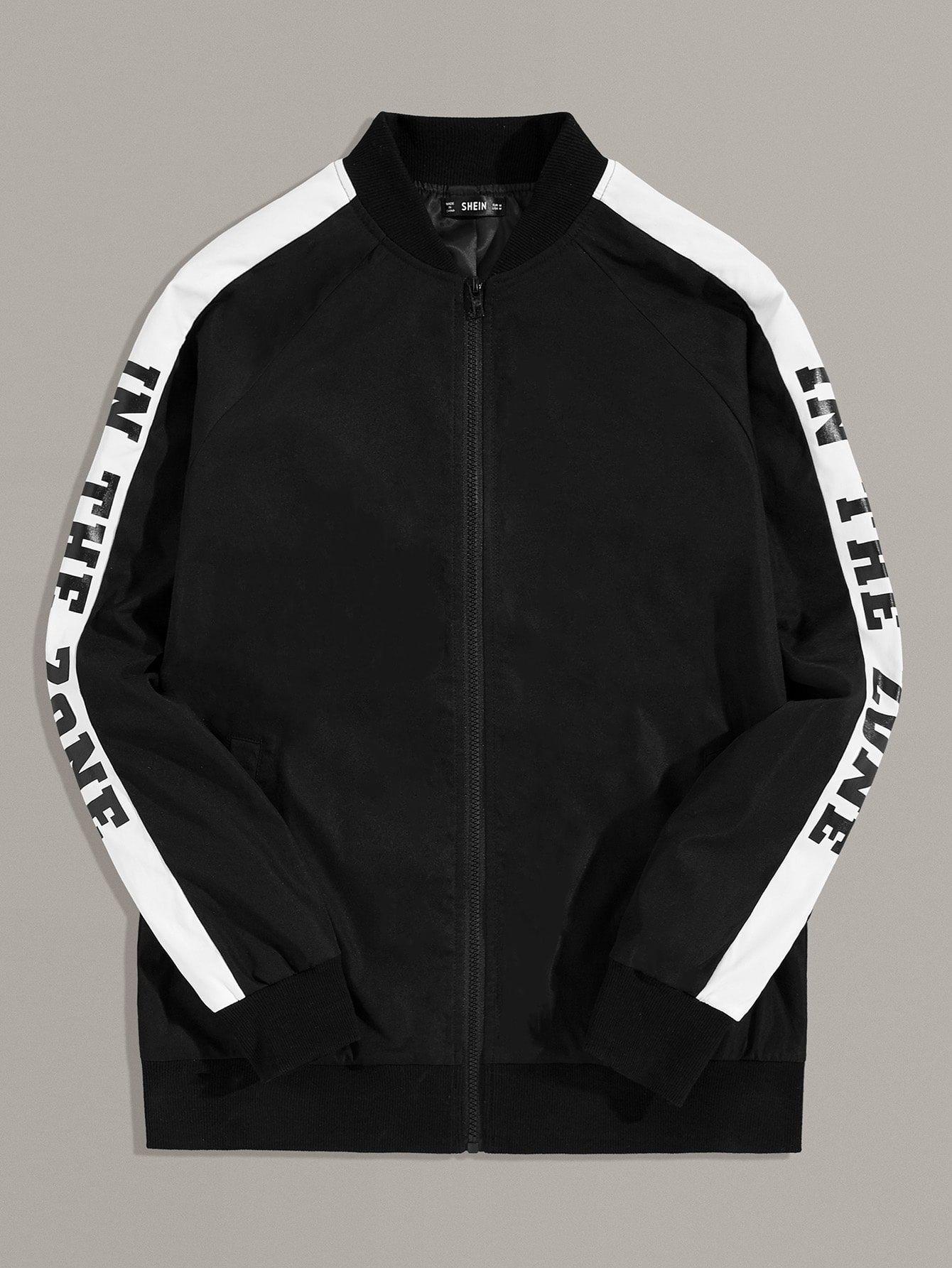 Men Zip Up Slogan Graphic Sleeve Bomber Jacket Sponsored Ad Slogan Zip Men Jackets Bomber Jacket Zip Ups [ 1785 x 1340 Pixel ]