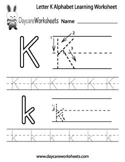 Preschool Letter K Alphabet Learning Worksheet | Preschool Alphabet ...