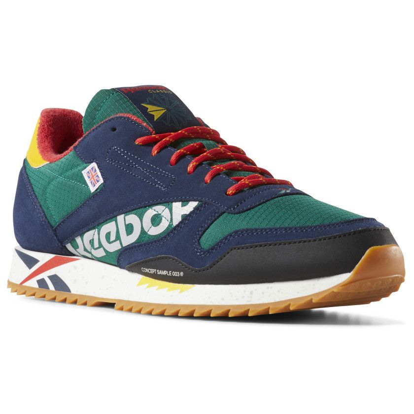 ef98e49edd8 Reebok Unisex Classic Leather Ripple Altered in GREEN   RED   YELLOW ...