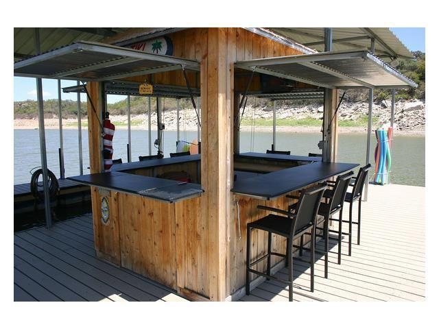 Dock With Entertainment Bar Seating Austin Texas Homes Lakefront Living Lake Dock House Boat