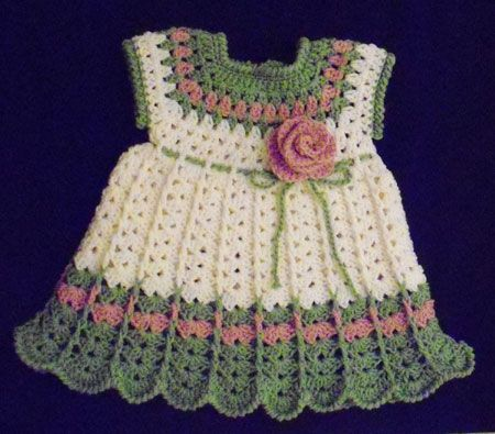 Such a pretty crochet baby dress : Free Baby Crochet Patterns