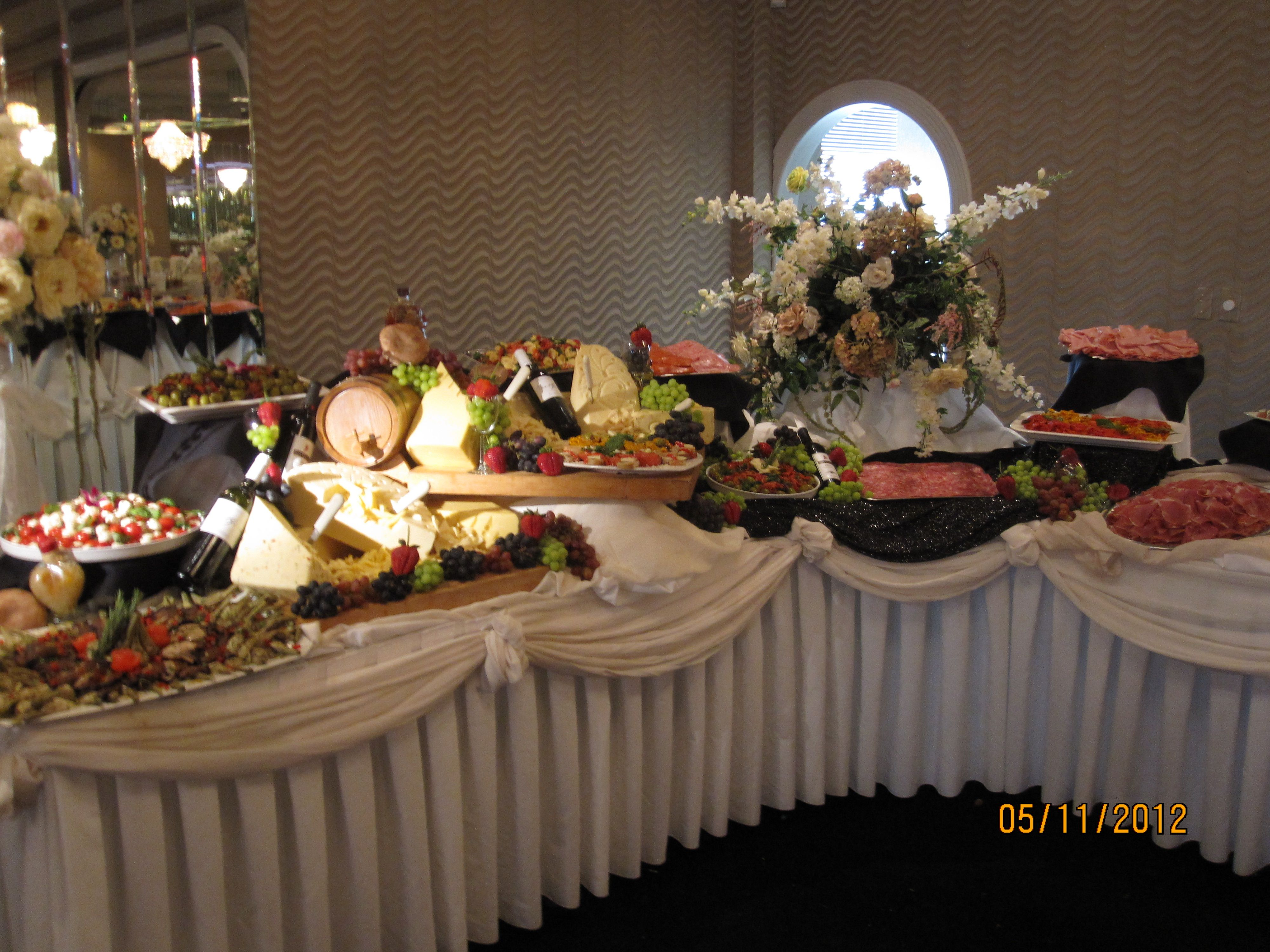 Table set up of the ornate food displays at Celebrations ...