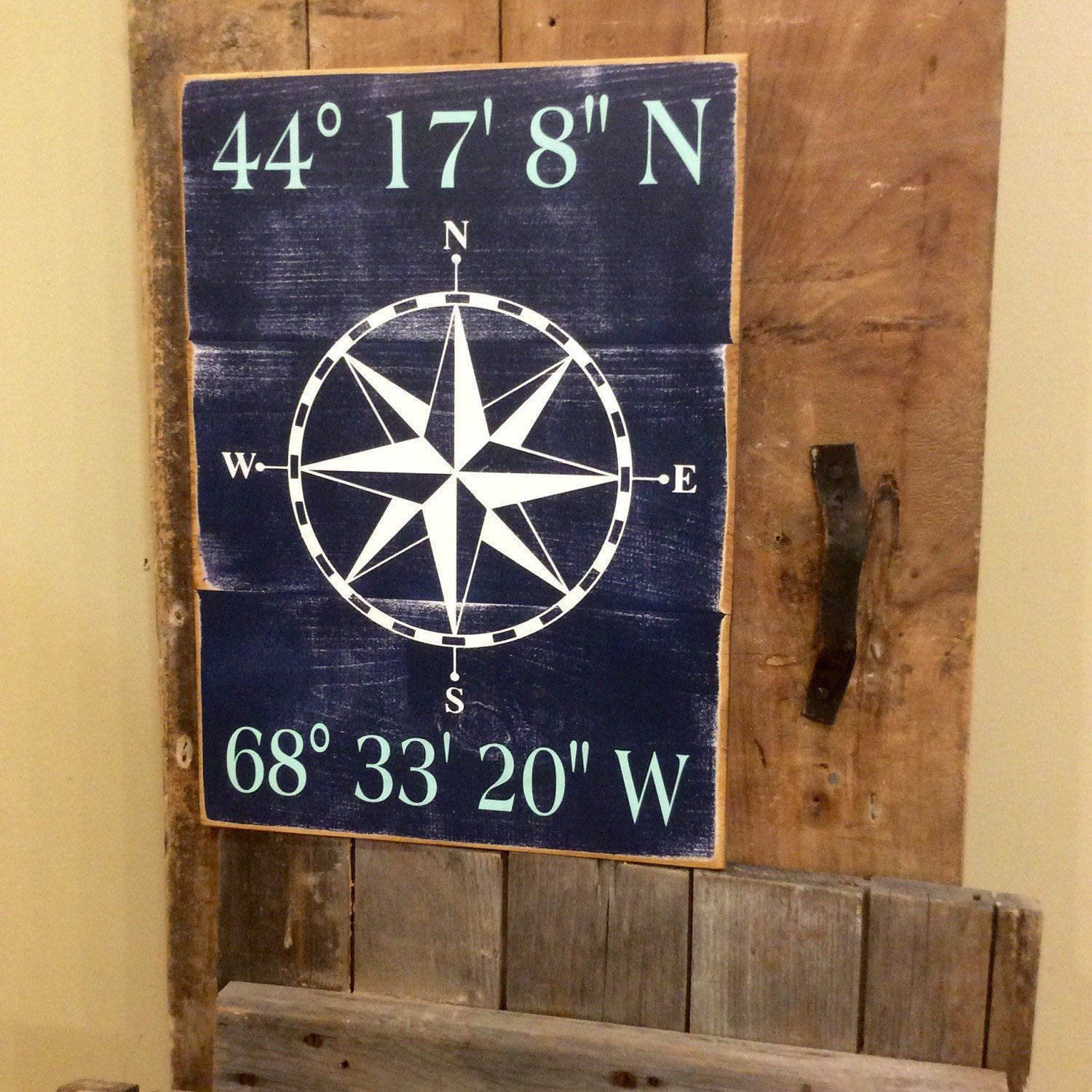 Latitude And Longitude Wooden Distressed Sign Custom Coordinate