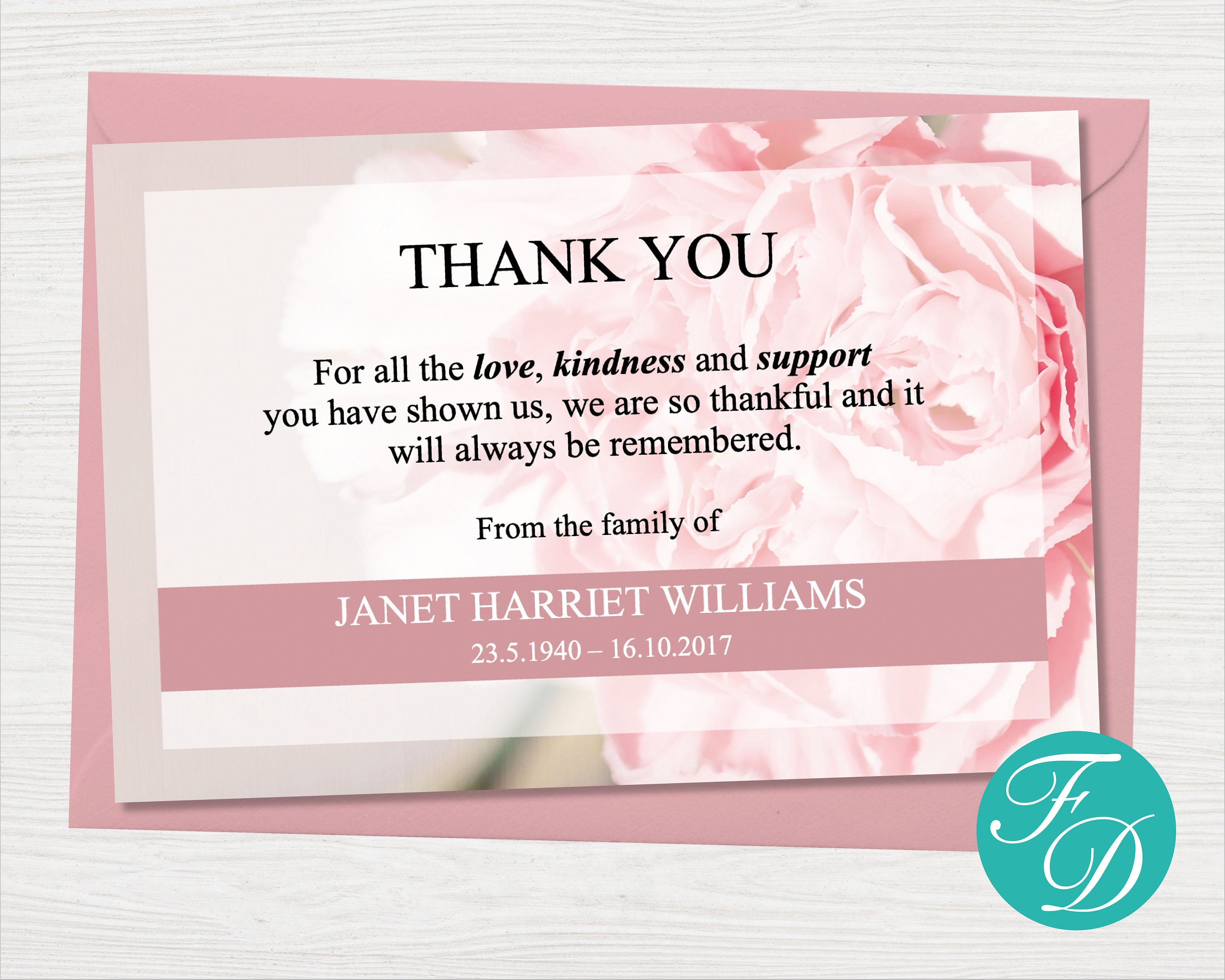 Pink Carnation Thank You Card Easy To Edit Funeral Template Simply Download The Funeral Te Funeral Thank You Notes Funeral Thank You Sympathy Thank You Cards