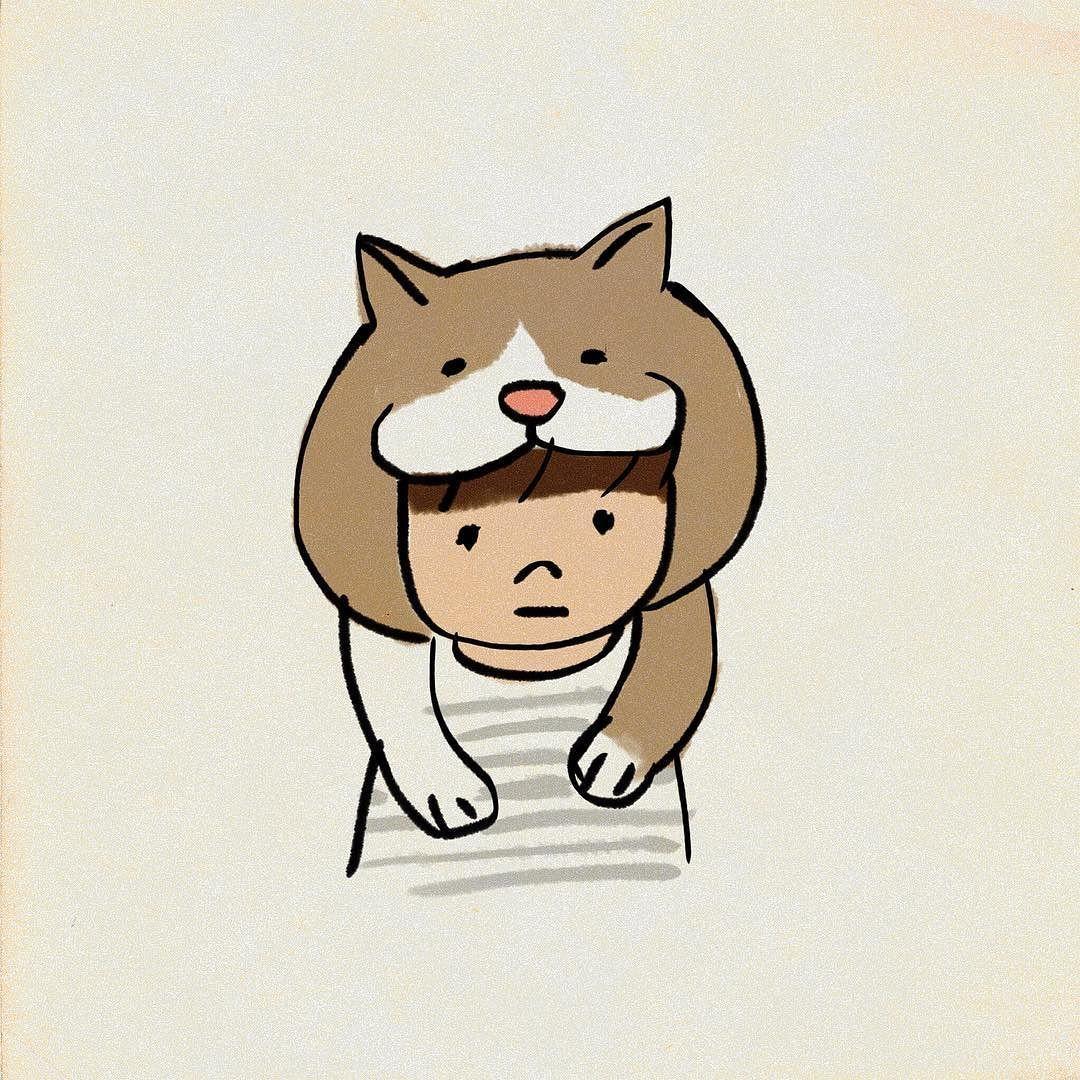 猫をかぶる #イラスト | my illustration | pinterest | 猫、かわいい