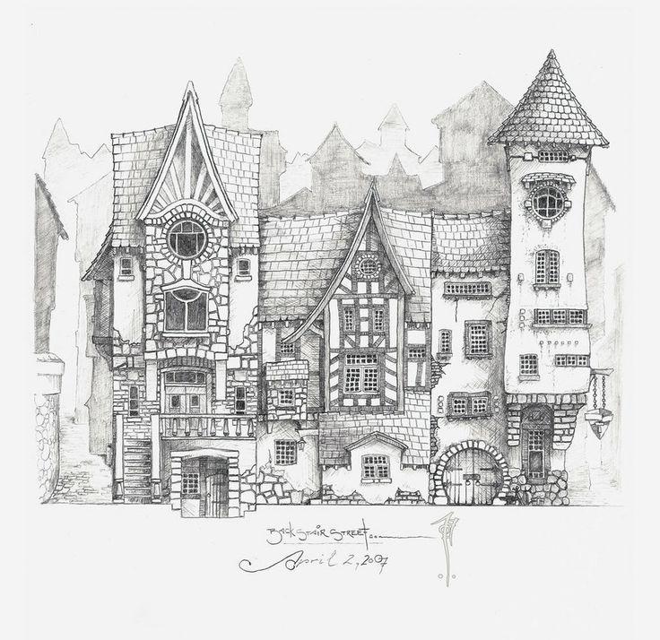 Mittelalterliche stra enansicht fantasy pinterest for Fachwerkhaus skizze