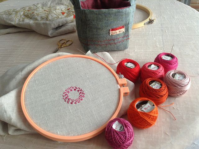 Day 1 of a new daily embroidery piece by Bonnie Sennott. A circle a day, in seven colors
