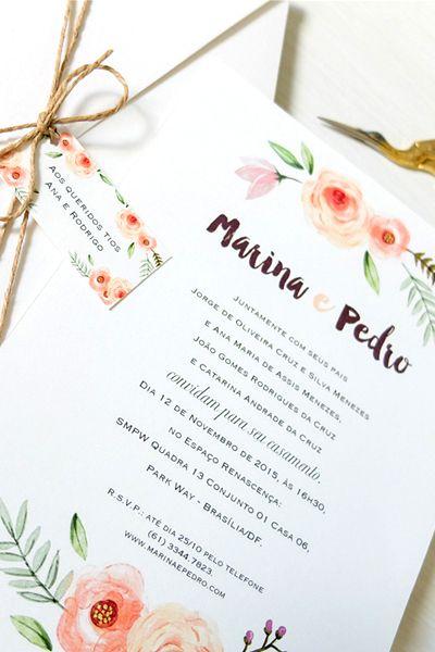 Convite Casamento Rustico Aquarela Flores Casamento Pinterest