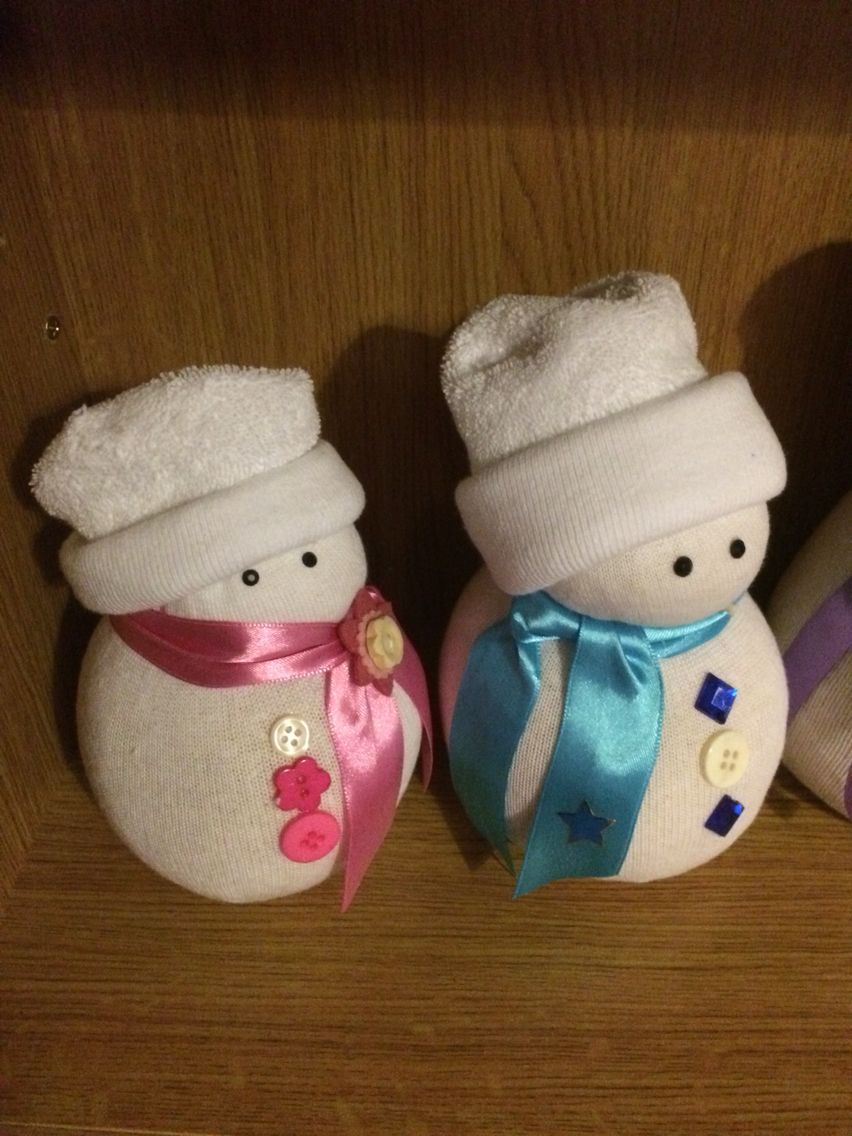 Baby sock snowmen