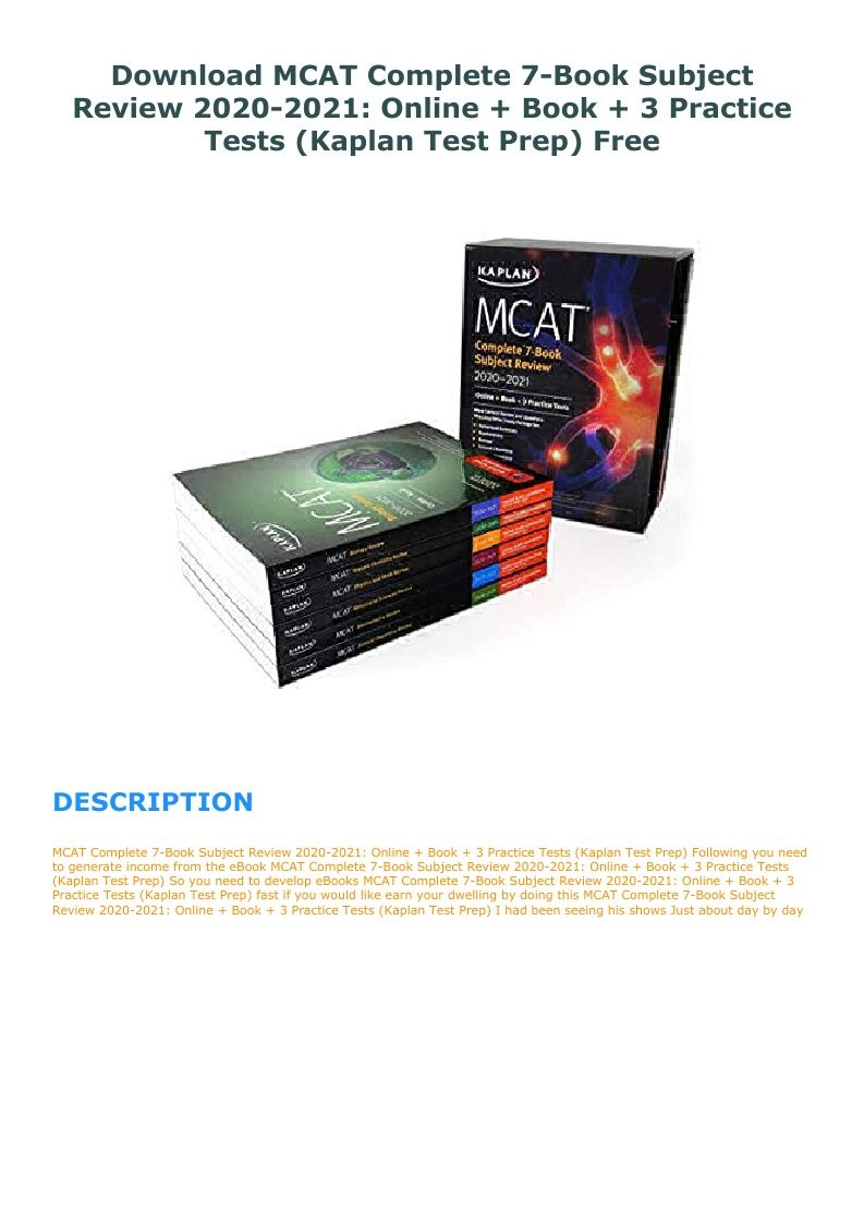 Download mcat complete 7book subject review 20202021