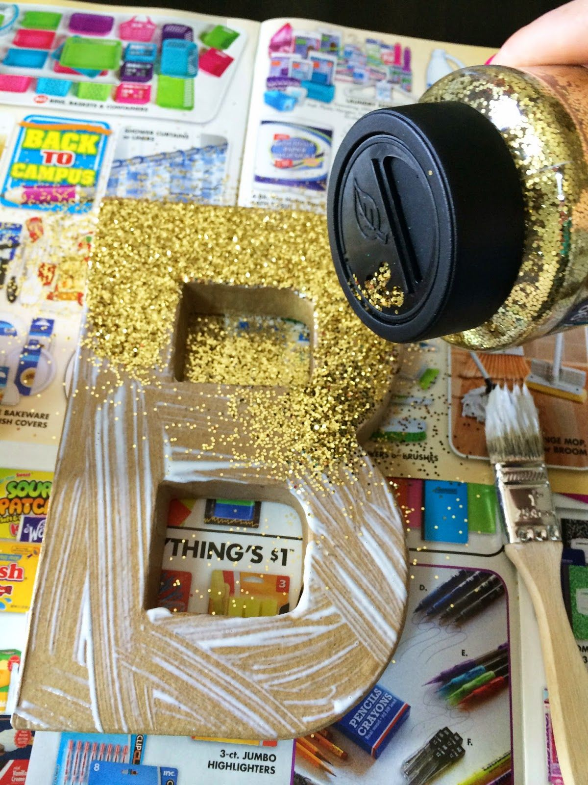 Gold glitter paper mache letter tutorial brooke and jane for Glitter cardboard letters