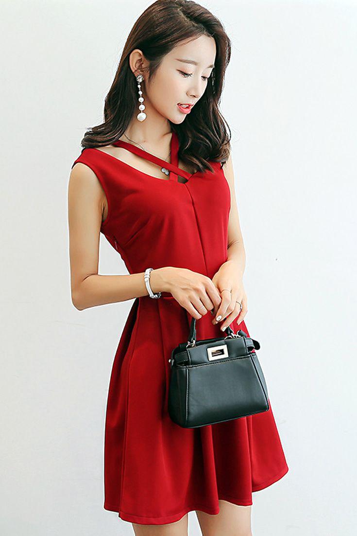 Sexy Cute Red Dress, South Korea Airport Fashion Kpop Drama Korean ...