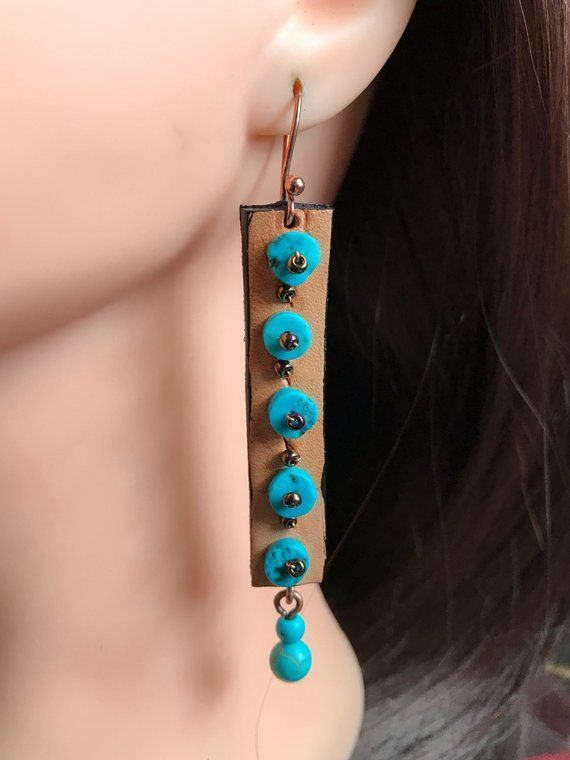 Photo of Items similar to Handmade bohemian leather earrings boho country tribal hippie style jewelry women ooak bronze metal crystal or;and natural stone ac on Etsy