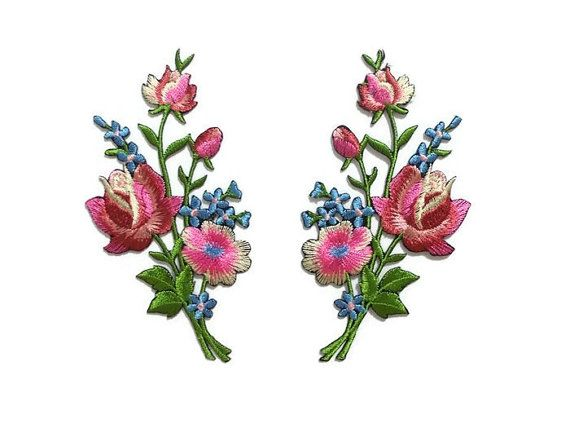 Pair Bouquet of Flowers Patches Iron Sew On Embroidered Patch Badge Blue Flower