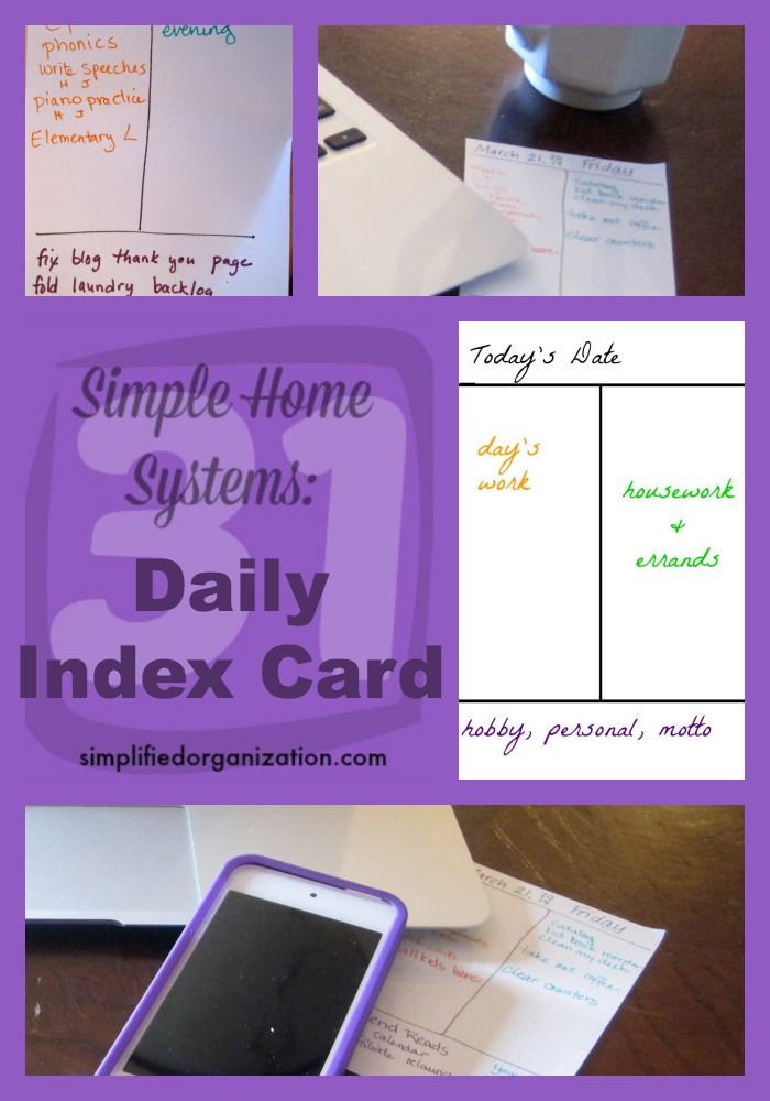 Simple Systems Daily Index Card Organizations, Organizing and - index card template