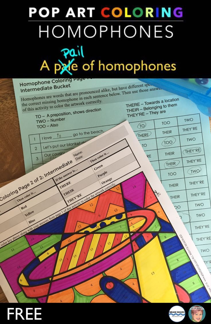 Free Homophones Coloring Sheets Teaching Language Arts 3rd