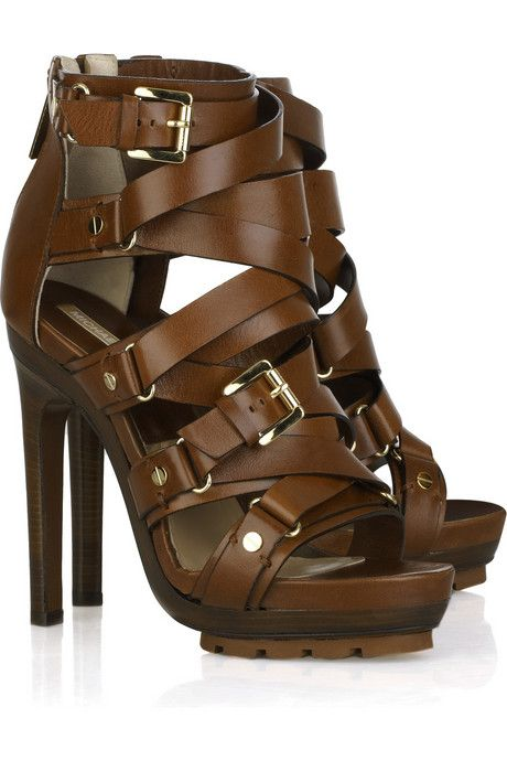 8c8aef20a643 Michael Kors Strappy Buckled Leather High Heel Sandal for Office Glam