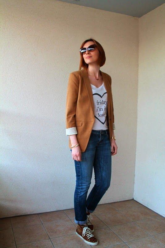 Mustard blazer, white tee, skinny jeans, leopard sneakers - Blazer  moutarde, t-shirt blanc, slim, baskets leopard. Friday I m in love - Yiyou  from Mars Blog ... 8ec290ec206