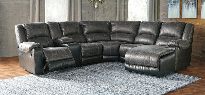 Ashley Furniture 50301 17 77 46 57 46 40 6 Pc Nantahala Slate Fabric Sectional Sofa With Recliner And Chaise Sectional Sofa With Recliner Sectional Sofa Fabric Sectional Sofas
