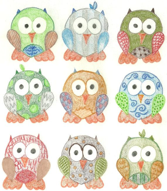 Short Legged Owls Custom Cotton Print Fabric FAT by KBExquisites, $4.65