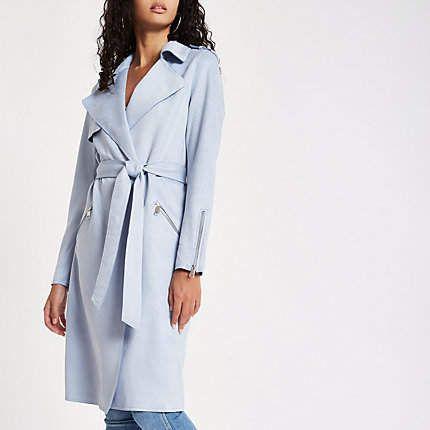 dee138249e32c Light blue faux suedette longline trench coat - Coats - Coats ...