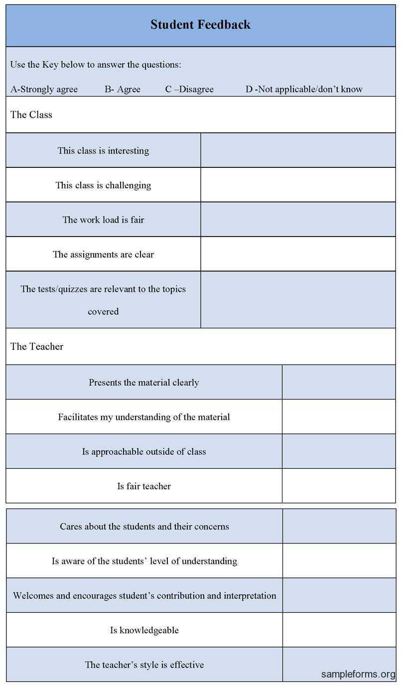 Student feedback form summer camp pinterest students for Student feedback form template word