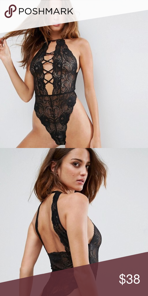 23559cc16f0 ASOS black lace bodysuit Only worn ONCE for this past Halloween so in  perfect condition. See through so definitely would recommend wearing breast  petals.